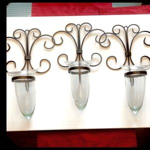 Pottery Barn Steel Hangers (3) and glass globes